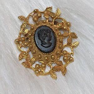 Vintage Black & Gold Cameo Brooch
